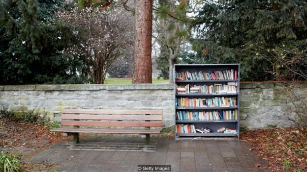 Public bookshelf outside