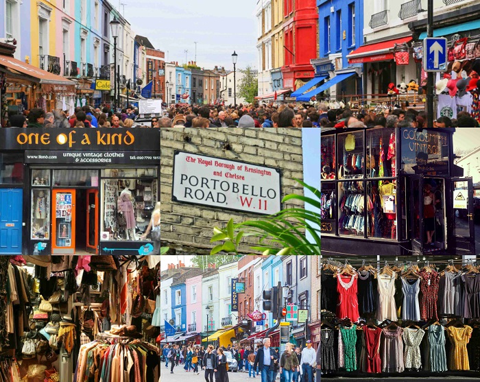 Ο συνωστισμένος κάθε Σάββατο δρόμος Portobello Road W11, στο κεντρικό Notting Hill του Λονδίνου, δημοφιλής για τις εξαιρετικές ευκαιρίες σε αντίκες και vintage είδη.