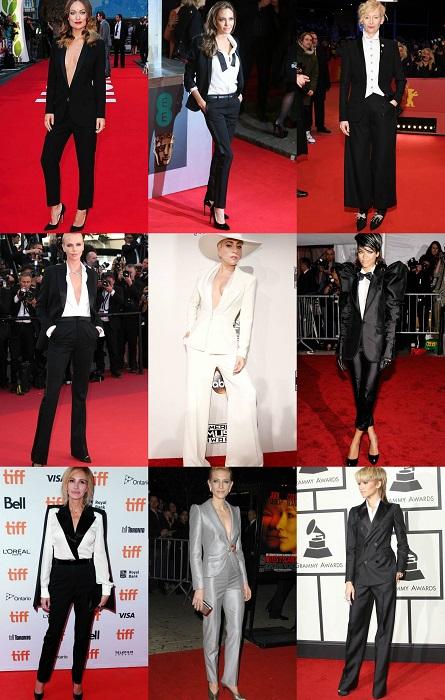 Η θηλυκότητα παρούσα κάθε φόρα που οι διάσημες επιλέγουν το κλασσικό tuxedo με φόντο το κόκκινο χαλί.