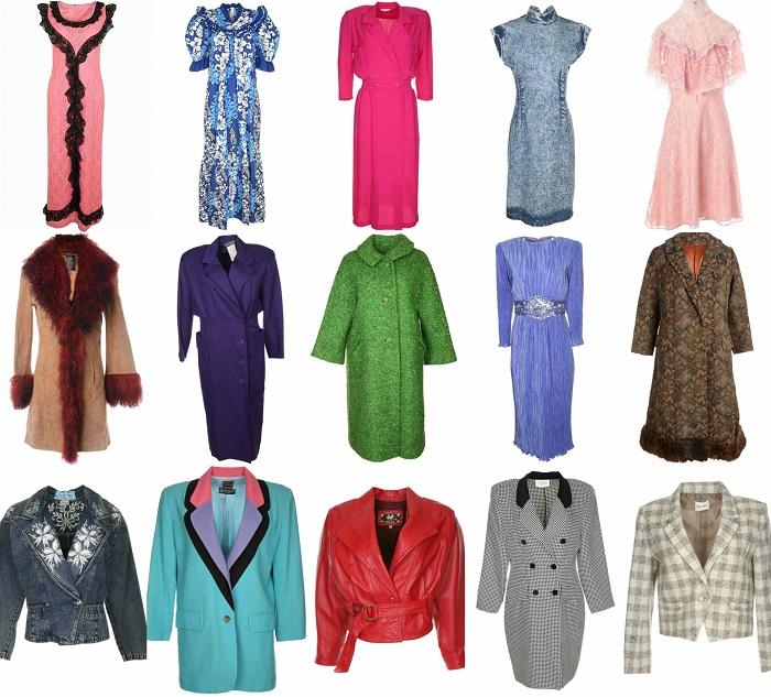 Διάφορα vintage ρούχα όπως πωλούνται σε δημοφιλή online shops.