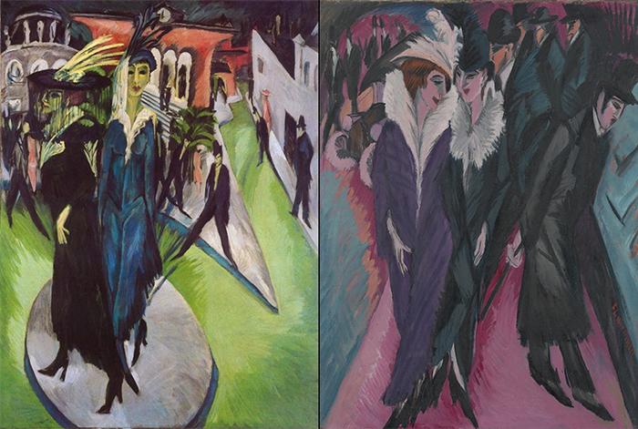 Ernst Ludwig Kirchner (αριστερά) Potsdamer Platz - (δεξιά)Δρόμος Βερολίνου