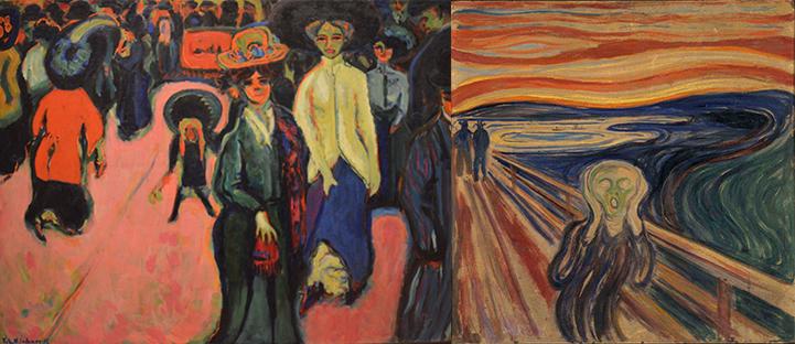 (αριστερά) Ernst Ludwig Kirchner, Δρόμος στη Δρέσδη- (δεξιά) Edvard Munch, Η κραυγή