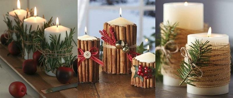 Ξύλα κανέλας, πευκοβελόνες, δενδρολίβανο, μερικά από τα μυρωδάτα υλικά που συνοδεύουν κατάλληλα τις χειμερινές διακοσμήσεις των κεριών.