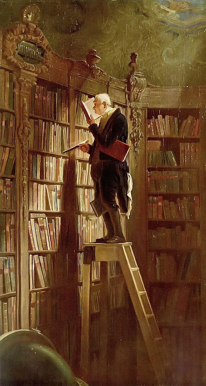«Ο Βιβλιοφάγος», πίνακας του γερμανού ζωγράφου και ποιητή Carl Spitzweg (1850).