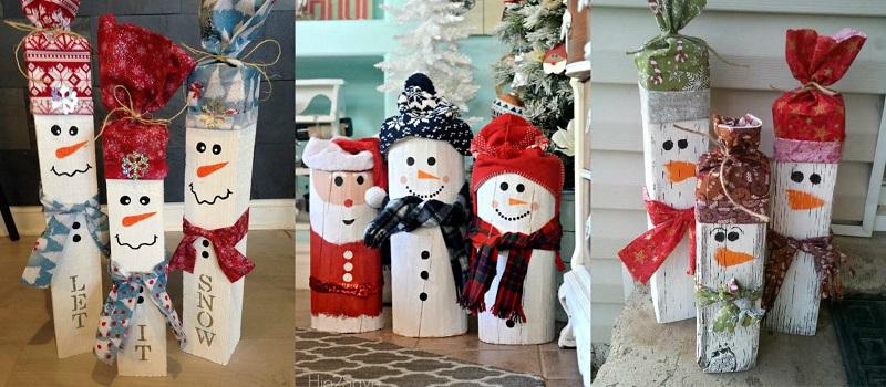 Ζωγραφίστε πάνω σε μακρόστενα ή κυλινδρικά κομμάτια ξύλου, χριστουγεννιάτικες φιγούρες και διακοσμήστε τες με ανάλογα αξεσουάρ τους.
