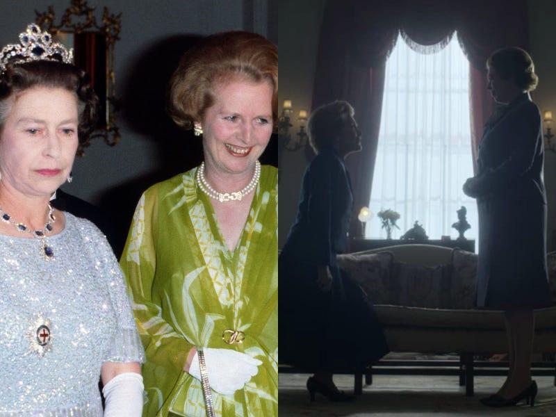 Η Olivia Coleman και η Gillian Anderson (δεξιά) υποδύονται τη Βασίλισσα Ελισάβετ και την πρωθυπουργό Margaret Thatcher.