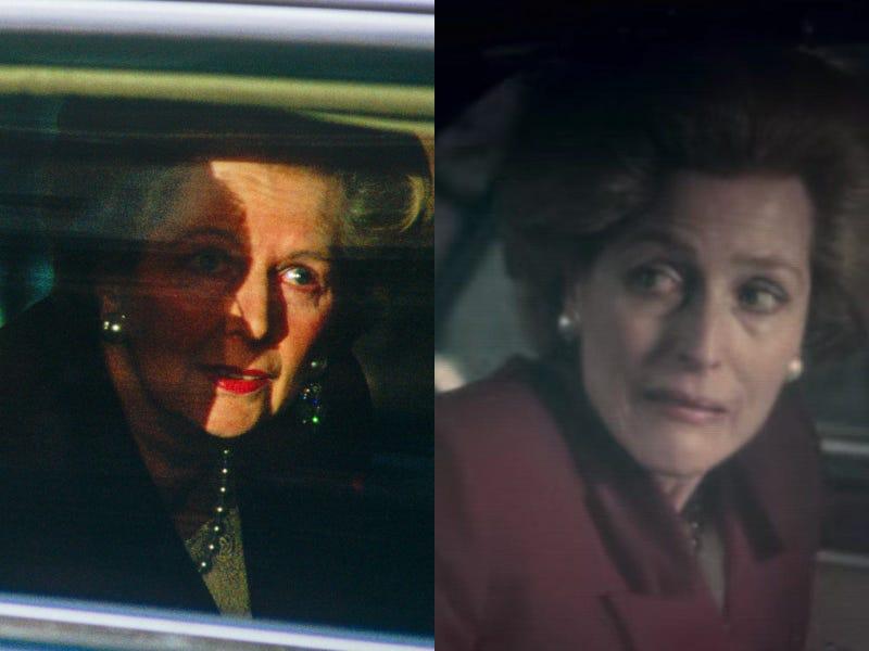 Η Gillian Anderson, ενσαρκώνοντας τη σιδηρά κυρία στη διάρκεια της αποχώρησής της για τελευταία φορά από τη Downing Street.