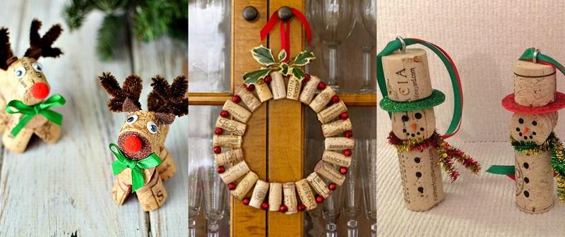 Οι χρησιμοποιημένοι φελλοί κρασιών είναι από τα αγαπημένα υλικά χειροτεχνίας για χριστουγεννιάτικες κατασκευές.