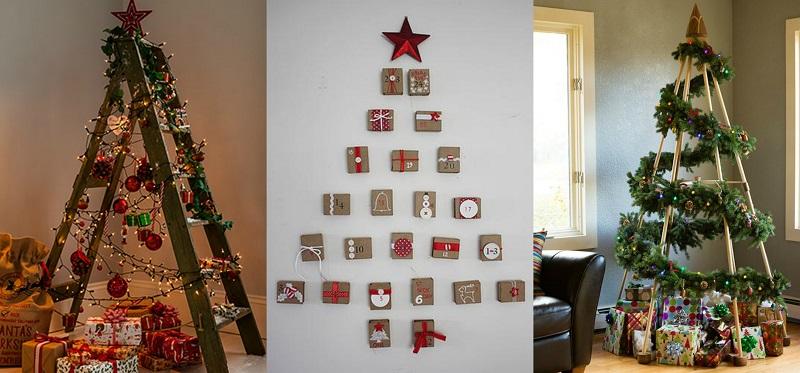 Χρησιμοποιήστε μία ξύλινη σκάλα ή ξύλινες βέργες ή χριστουγεννιάτικες κάρτες για να δημιουργήσετε το απαραίτητο σχήμα κώνου.