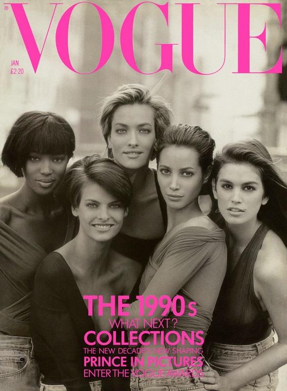 Φωτογραφίζοντας για πρώτη φορά μαζί τα top models στους δρόμους της Νέας Υόρκης. Το συγκεκριμένο εξώφυλλο της Vogue UK, συγκαταλέγεται σε αυτά με την μεγαλύτερη επιρροή (Ιανουάριος 1990).