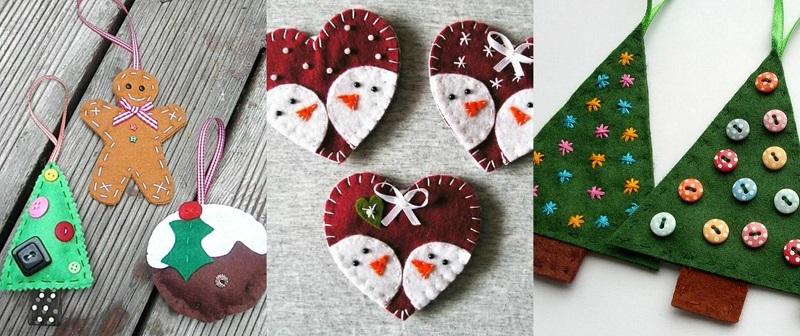 Κόψτε διάφορα σχήματα και ράψτε εξωτερικά τις άκρες με βελόνα και κλωστή. Τοποθετήστε πάνω διάφορα διακοσμητικά υλικά.
