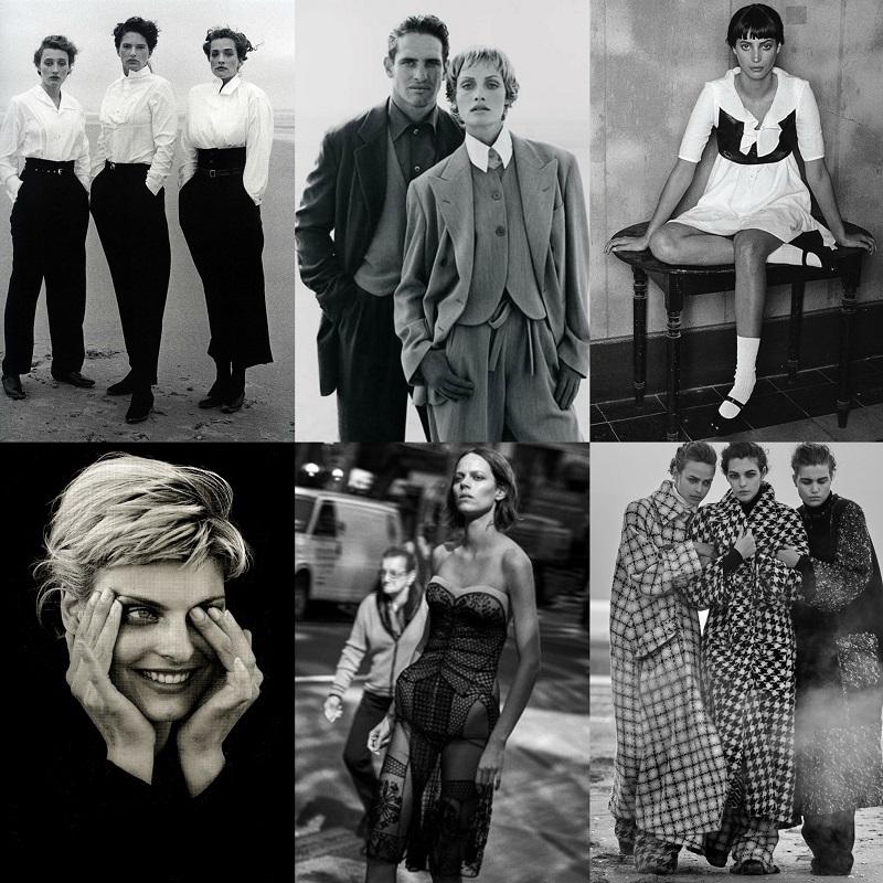 Από πάνω αριστερά - Καμπάνια Comme des Garcons (1990), Armani (1993), Prada (1994), Jil Sander (1994), Dior (2018), Channel (2019).