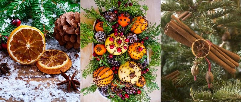 Ψημένες φέτες πορτοκαλιών, ρόδια, αστεροειδής γλυκάνισος, ξύλα κανέλας, γαρύφαλλο μπαχαρικό θα ευωδιάσουν και θα ζεστάνουν την γιορτινή ατμόσφαιρα τους σπιτιού σας.