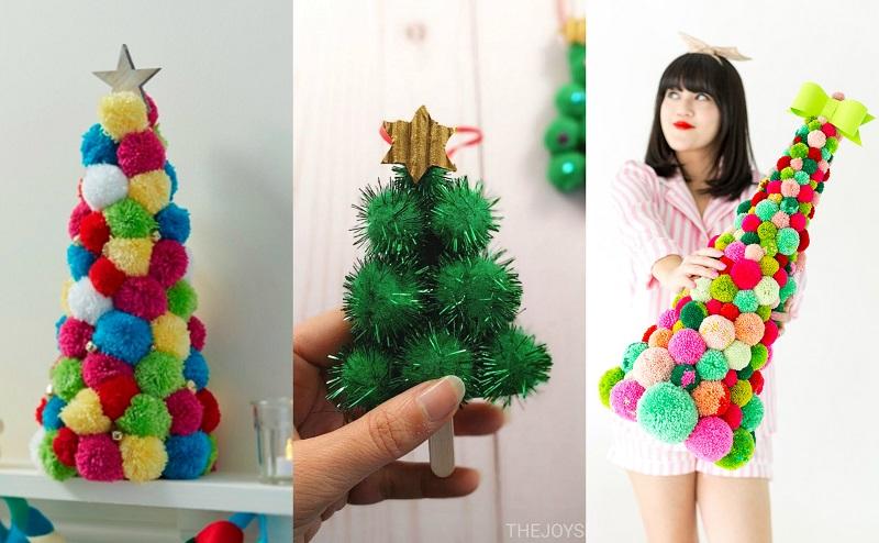 Σε ένα κώνο ή τρίγωνο από φελιζόλ ή χαρτόνι, κολλήστε φουντίτσες pom pom σε κλασσικό πράσινο ή σε διάφορα έντονα χρώματα και δημιουργήστε το πιο pop art Χριστουγεννιάτικο δενδράκι.
