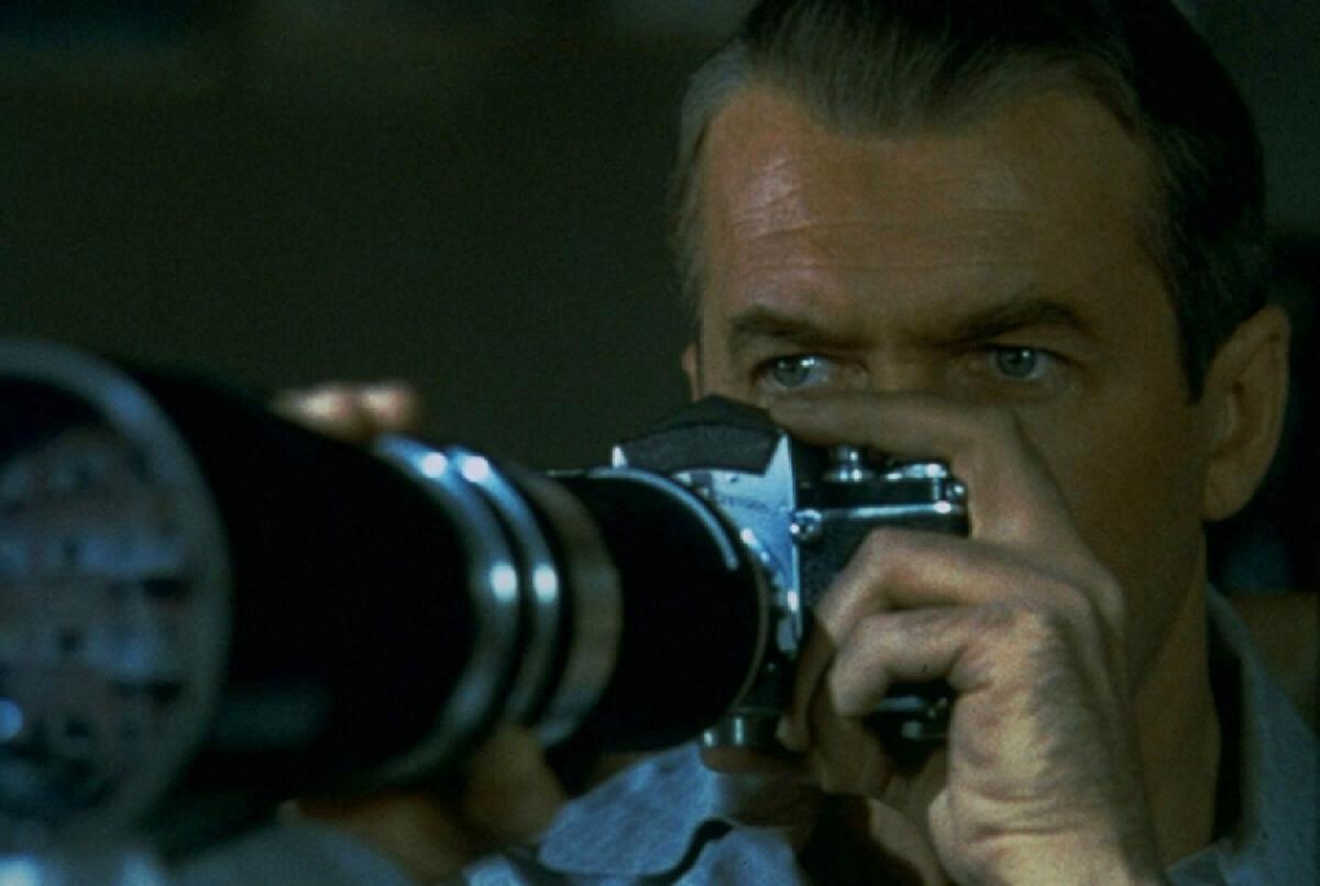 James Stewart as Jeff in Alfred Hitchcock's 'Rear Window', 1954