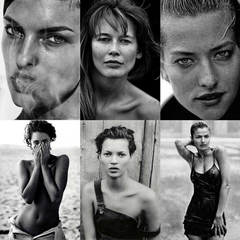 Από πάνω αριστερά - Linda Evangelista, Claudia Schiffer, Tatjana Patitz, Christy Turlington, Kate Moss, Helena Christensen.