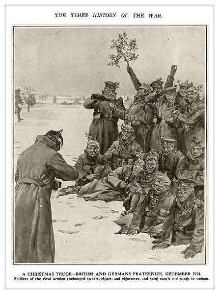 Χαρακτικό με τους στρατιώτες της εκεχειρίας του Δεκέμβρη του 1914