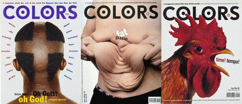 Μερικά από τα κραυγαλέα εξώφυλλα του περιοδικού Colors που κυκλοφορεί ακόμη.