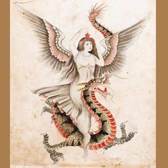 Σελίδα από ένα σπάνιο άλμπουμ με σχέδια τατουάζ από τον Βρετανό καλλιτέχνη τατουάζ George Burchett, χρόνιατία 1910. Η τέχνη αυτών των εικόνων είναι εξαιρετική.