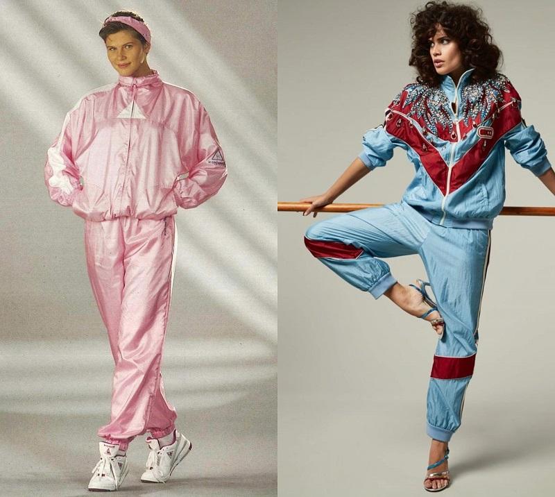 Αριστερά, οι πρώτες συνθετικές φόρμες του '80 - Δεξιά, athleisure look σύνολο, Gucci 2017.