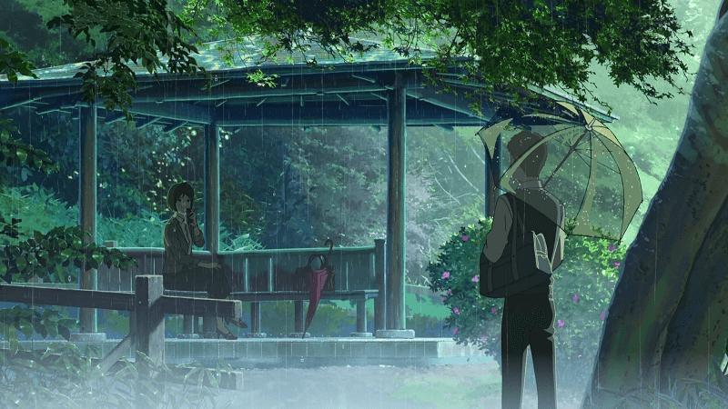 o Τakao και η Yukari στον κήπο