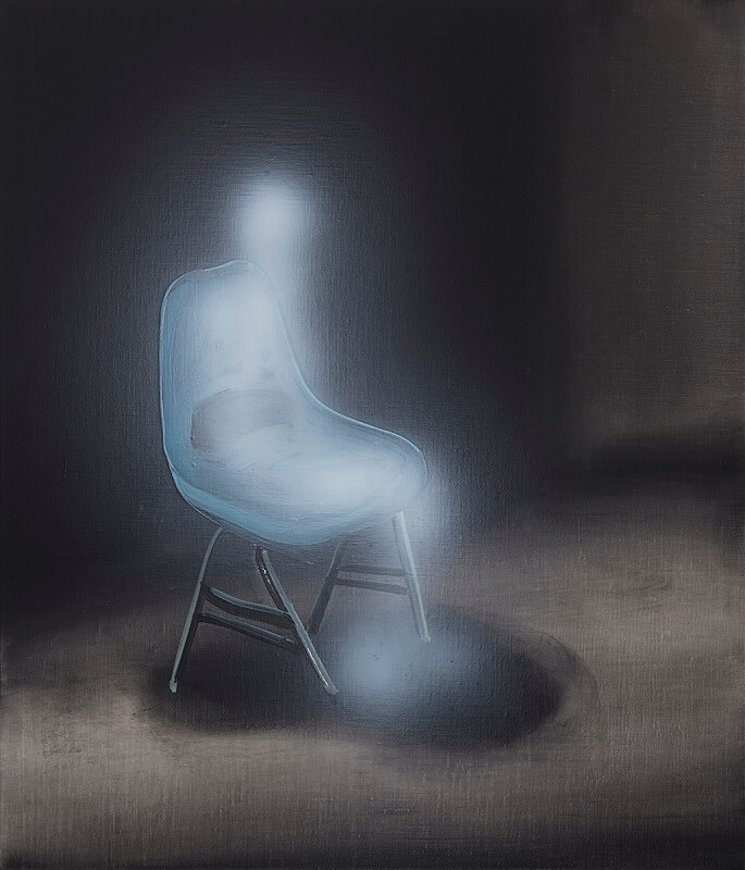 Ghost Sitter (blue chair), 2020, Tala Madani