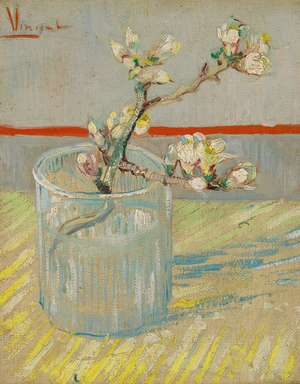 Vincent Van Gogh, Sprig of flowering almond in a glass, 1888