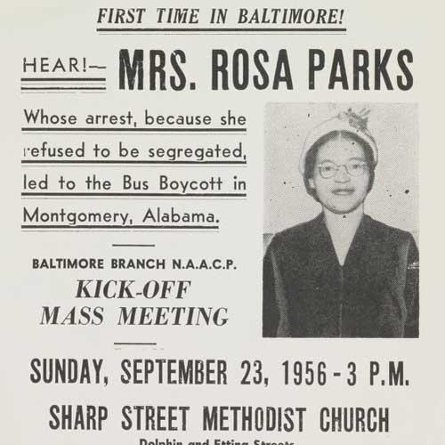 Αφίσα εκδήλωσης στη Βαλτιμόρη με αφορμή την κίνηση της Rosa Parks