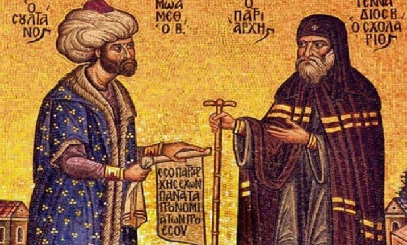 Ο Γεννάδιος Σχολάριος απόδεχεται τα προνόμια που του προσφέρει ο Μωάμεθ.