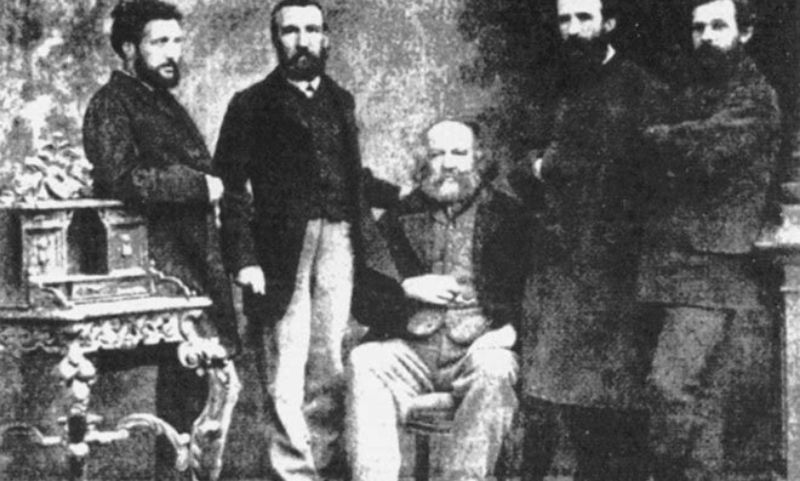 Ο Μπακούνιν μαζί με αναρχικούς συντρόφους του το 1869.