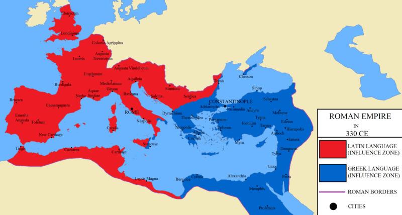 Οι σφαίρες επιρροής της λατινικής και της ελληνικής γλώσσας στο πλαίσιο του ρωμαϊκού κράτους.