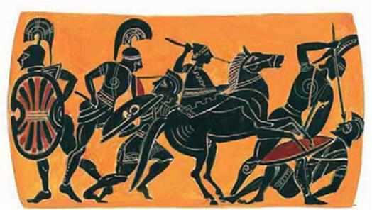 Μάχη ανάμεσα στους Αχαιούς και τους Τρώες.