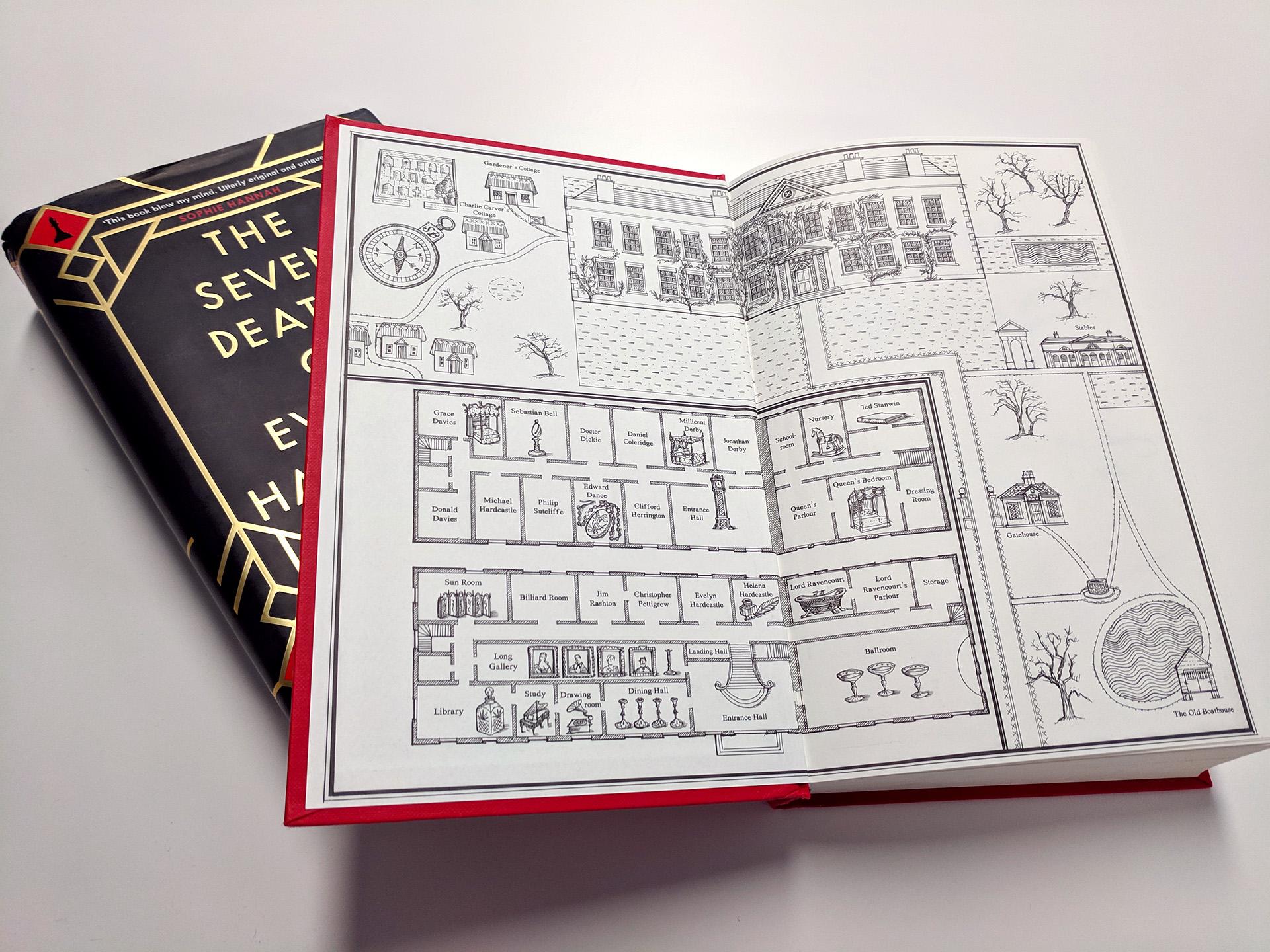 Εξώφυλλο και εσώφυλλο του βιβλίου ''Οι εφτά θάνατοι της Έβελιν Χαρντκάστλ''